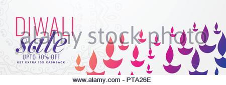 Diwali vente bannière avec nombreux diya Banque D'Images