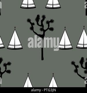 Tentes indiennes et Joshua tree sur fond blanc. Design mignon pour textile, d'écran, les enfants de l'industrie. Illustration vectorielle, hand drawn seamless pattern