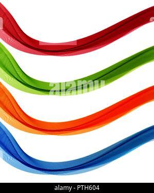 Ensemble de flux vecteur abstrait couleur transparent vague. Banque D'Images