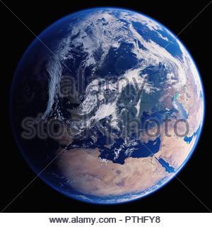 La terre de l'espace montrant l'Europe, la mer Méditerranée, l'Afrique du Nord et au Moyen-Orient Banque D'Images