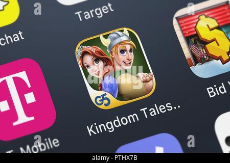 Londres, Royaume-Uni - Octobre 09, 2018: Gros plan du Royaume Tales 2 mobile app à partir de G5 ENTERTAINMENT AB. Banque D'Images