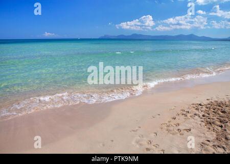 Playa de Muro, belle plage de sable à Majorque, Espagne Banque D'Images