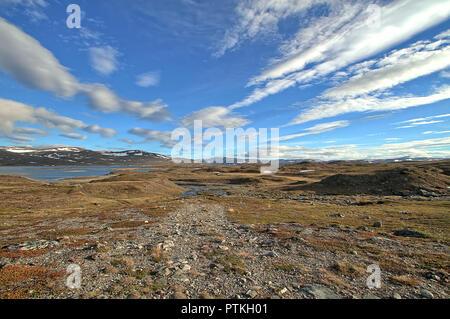 Paysage d'été arctique au motif du nord de la Norvège au cours de la journée polaire quand le soleil ne se couche jamais. Banque D'Images