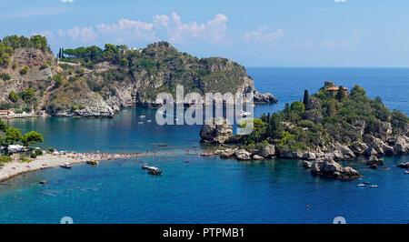 Isola Bella, belle petite île et l'un des monuments de Taormina, Sicile, Italie