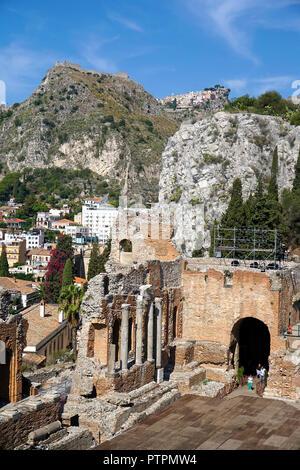 L'ancien théâtre gréco-romain de Taormina, Sicile, Italie