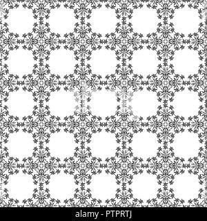 Vector pattern. transparente Noir et blanc ornement floral stylisé. Banque D'Images