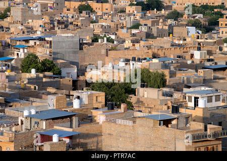 L'image de vue des maisons d'or de Jaisalmer Jaisalmer, ville, Rajasthan, Inde
