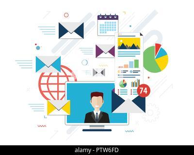 Ordinateur portable avec enveloppe et ouvrir la messagerie à l'écran. Email marketing, internet concepts publicitaires. Télévision vector illustration. Banque D'Images