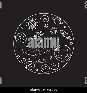Doodle round signe. L'espace de couleur blanche. Vector illustration. Planètes, OVNI, rocket, étoiles isolé sur fond d'un cercle noir. Banque D'Images
