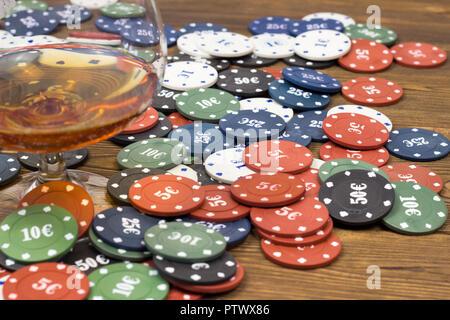 Carte jetons de Poker jeu de poker, l'alcool