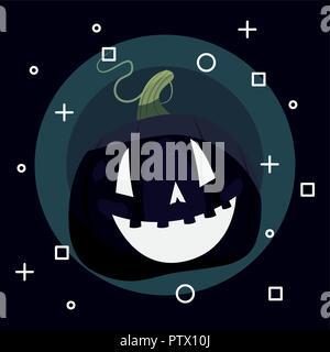 Happy Halloween citrouille fond noir symboles vector illustration Banque D'Images