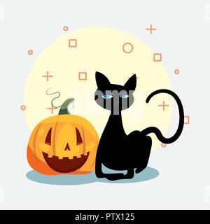 Happy Halloween cat smiling symboles citrouille vector illustration Banque D'Images
