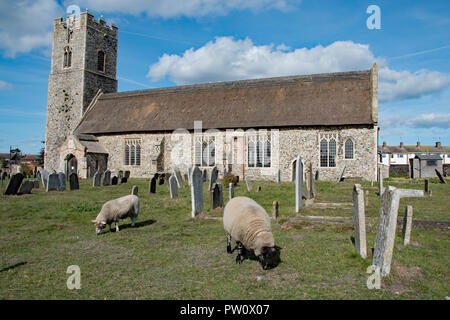 Lucy et Rodney le mouton, dans le cimetière à Pakefield Église, Suffolk, UK.