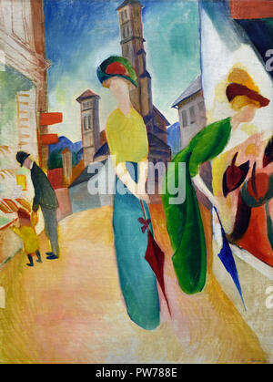 Deux femmes devant la Hat Shop 1913 August Macke 1887-1914 Allemagne Allemagne Banque D'Images