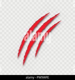 Griffes rouges sur fond transparent pour l'Halloween. Vector Banque D'Images