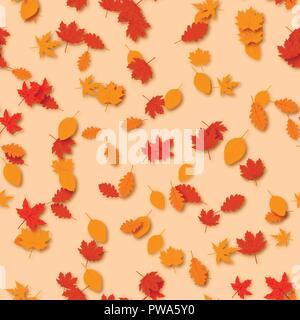 Modèle transparent avec les feuilles d'automne. Jour d'action de grâce. Vecteur. Banque D'Images