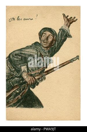 Ancienne carte postale de propagande française: un brave homme avec une carabine appelant pour lui à l'avant. Affiche de recrutement. La première guerre mondiale 1914-1918, la France, l'Entente. Banque D'Images