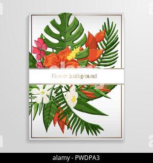 Fond de fleurs tropicales avec des feuilles de palmier,monstera vert Banque D'Images