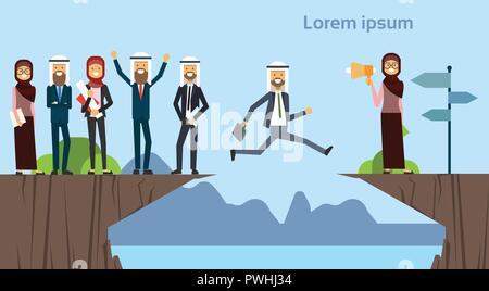 Businessman jumping arabes sur obstacles abîme rendez l'objectif opposé concept. groupe affaires succès. défi, risque, et surmonter les obstacles ou problèmes. Banque D'Images