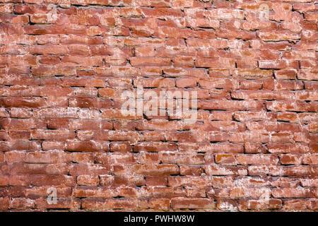 Vieux mur de briques rouges. Le grunge background Banque D'Images