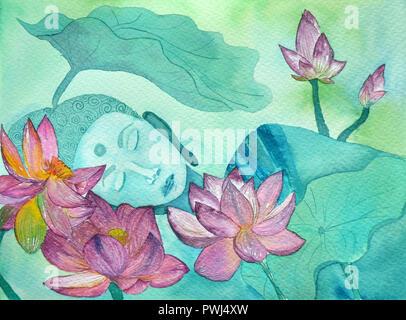 Buddha silhouette en couleurs bleu et lotuseswth doucement arrière-plan flou Banque D'Images