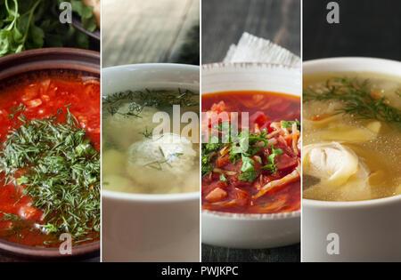 Définissez avec différentes betteraves délicieux potages. Recettes de cuisine Banque D'Images