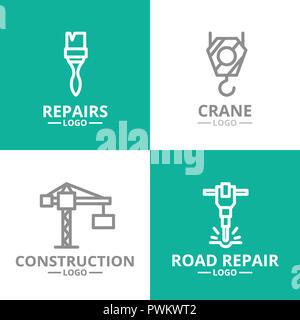 Ensemble de la construction, crochet de grue, pinceau, jackhammer logo ou insignes, emblèmes, étiquettes et d'un insigne style de ligne. Banque D'Images
