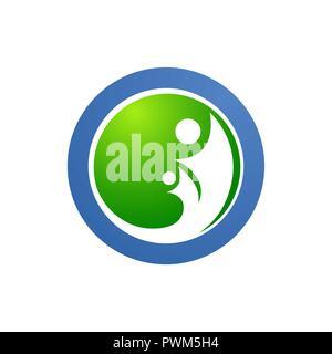 Cercle de soins de la famille humaine et de symboles logo amour Banque D'Images