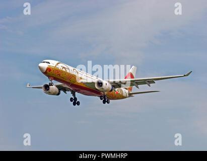 Gulf Air Airbus A330-243 de l'aéroport Heathrow de Londres. Banque D'Images