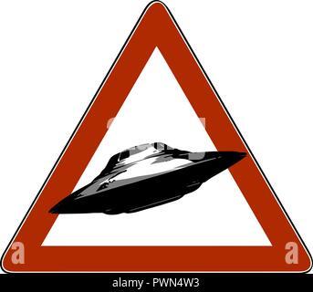 Danger d'illustration vectorielle, la signalisation routière, l'icône d'OVNIS Banque D'Images