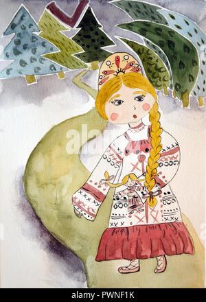 Vasilisa Le beau conte de fées à l'aquarelle Banque D'Images
