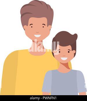 Le père avec son fils souriant caractère avatar