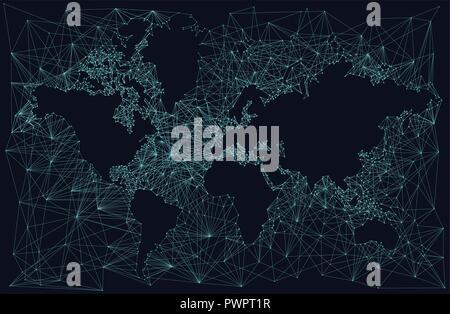 Silhouette d'une carte du monde, fractal résumé arrière-plan modèle pour votre conception Banque D'Images
