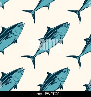 Modèle sans couture de fruits de mer avec du thon, vector illustration modèle pour votre conception Banque D'Images