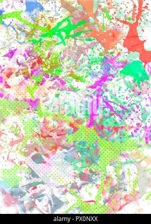 Des éclaboussures de couleurs sur un fond blanc. Résumé de la conception, de peintures et laques multicolores. Banque D'Images