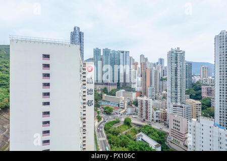Paysage urbain de Hong Kong vue du Lai Tak Tsuen. Banque D'Images