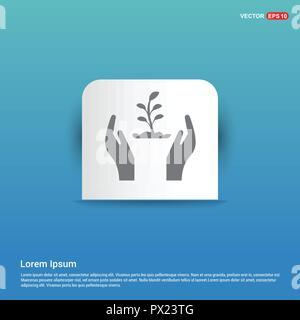Plante en icône main - bouton autocollant bleu Banque D'Images