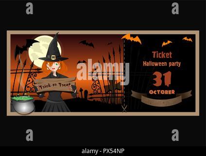 Billet pour Halloween party avec un mignon jeune sorcière Banque D'Images