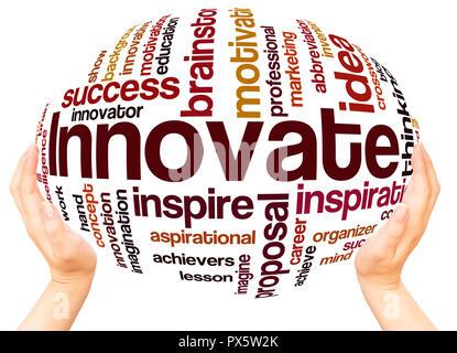 Nuage de mots innover main concept de sphère sur fond blanc. Banque D'Images