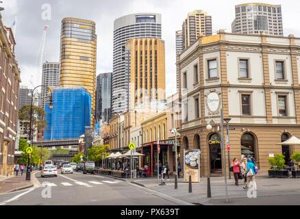 Sydney CBD Central Business District de George Street Sydney The Rocks NSW Australie. Banque D'Images