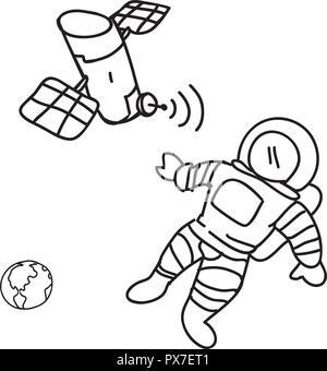 Satellite artificiel en orbite autour de la terre et de l'astronaute avec vector illustration Banque D'Images