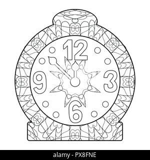 Réveil style zentangle aux lignes épurées pour un livre à colorier pour anti stress, t-shirt, tatouage et autres décorations Banque D'Images