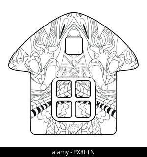Chambre de style zentangle aux lignes épurées pour un livre à colorier pour anti stress, t-shirt, tatouage et autres style zentangle decorationsOwl avec clean Banque D'Images