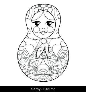 Style zentangle Matrioshka aux lignes épurées pour un livre à colorier pour anti stress, t-shirt, tatouage et autres decorationsOwl zentangle avec style Banque D'Images