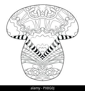 Style zentangle de champignons aux lignes épurées pour un livre à colorier pour anti stress, t-shirt, tatouage et autres décorations Banque D'Images