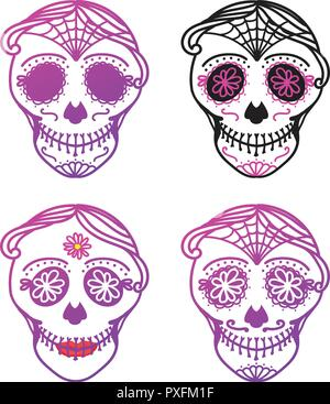 Vieux jeu Catrina la femme et l'homme avec composition de crâne en sucre. Dia de los muertos. Le Jour des Morts au Mexique. Vector illustration dessin à la main Banque D'Images