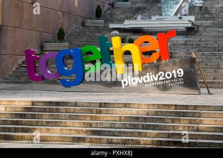 Inscrivez-vous dans le centre-ville de Plovdiv, Plovdiv - capitale européenne de la culture 2019 Banque D'Images