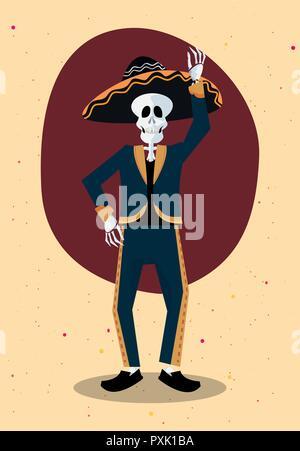 Le Jour des morts squelette de vœux à l'aide d'illustration vectorielle costume mariachi Banque D'Images