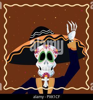 Le Jour des morts à l'aide d'accueil squelette châssis hat vector illustration Banque D'Images