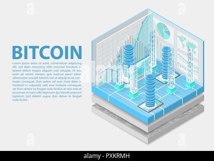 Vector illustration isométrique Bitcoin. Infographie 3D abstrait pour la technologie financière Banque D'Images